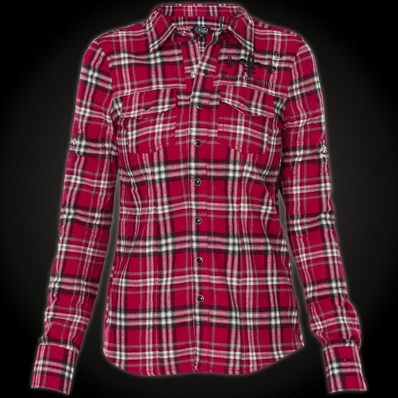 sinful hemd critical kariertes hemd mit gro er stickerei. Black Bedroom Furniture Sets. Home Design Ideas