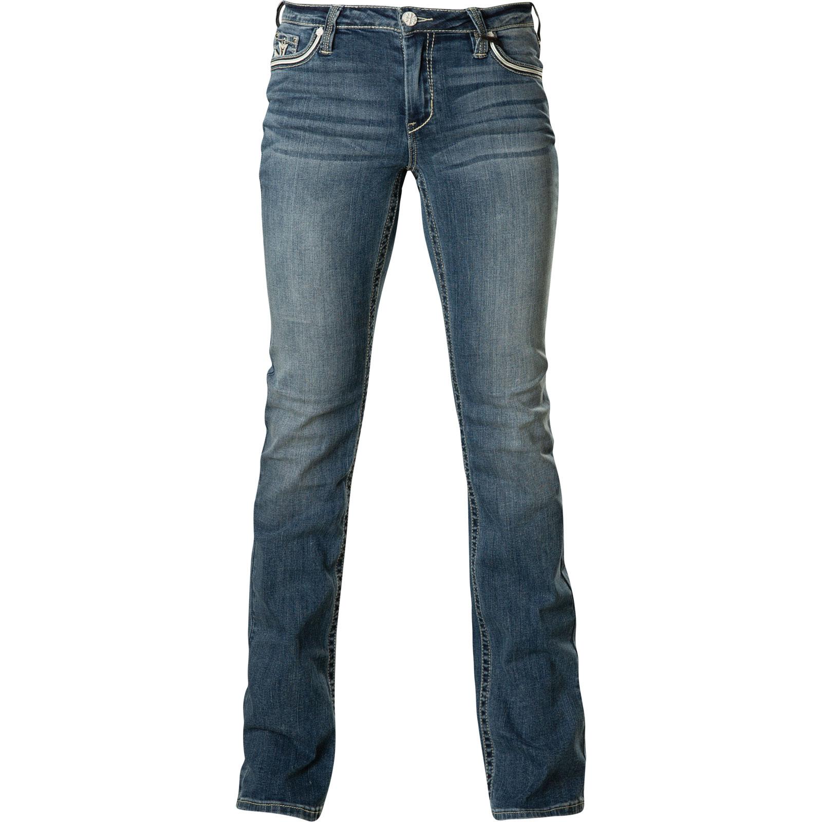 Affliction Damen Jeans Jade Standard Kenzi Blau