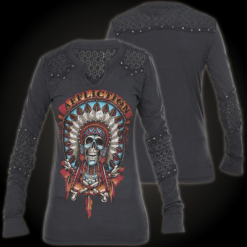 affliction pullover wild buffalo mit farbigem indianer. Black Bedroom Furniture Sets. Home Design Ideas