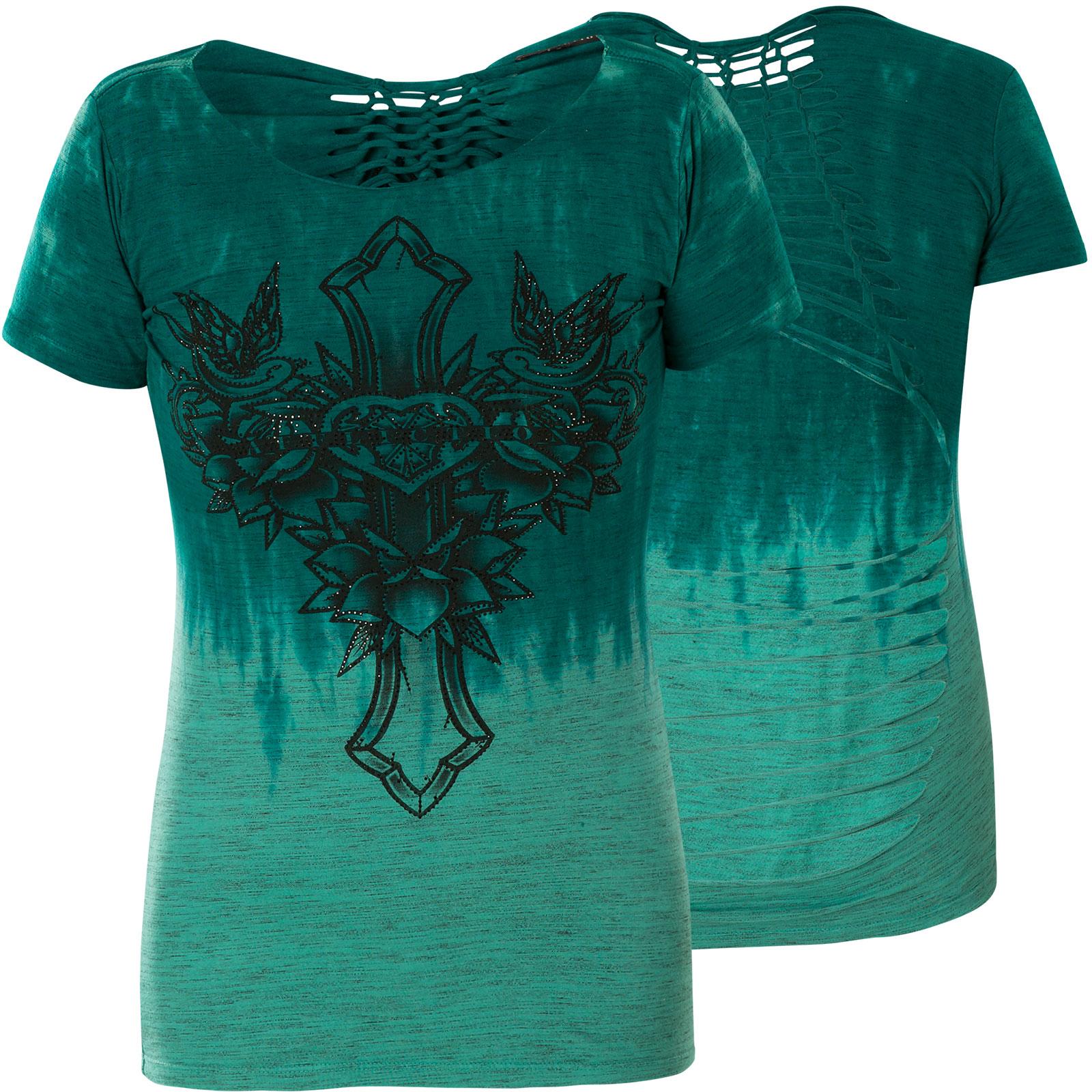 Affliction T Shirt Despina Print Mit Kreuz Und Ornamenten