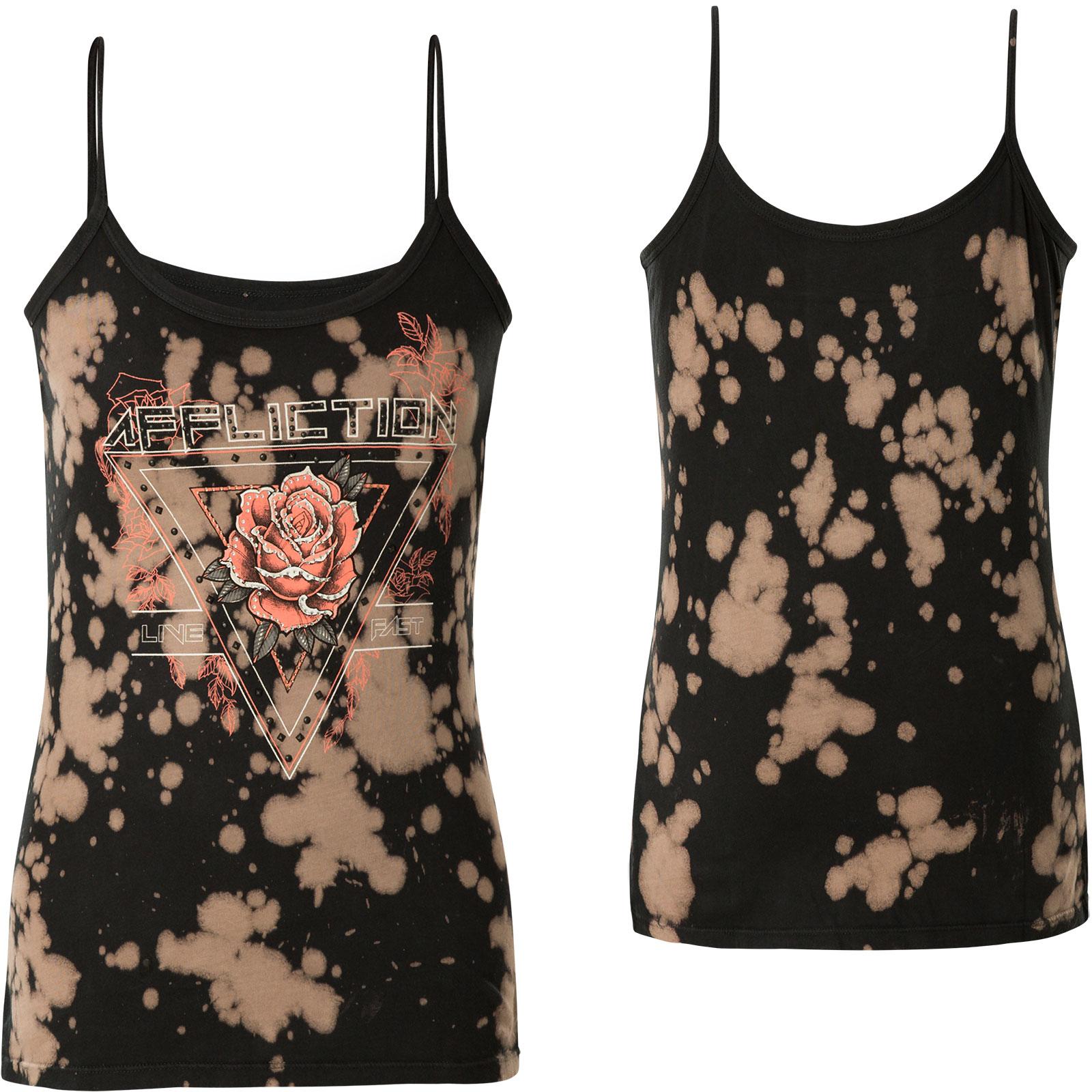 überlegene Leistung Farbbrillanz neueste trends Affliction Damen Tank Top Rose Tour Schwarz/Beige