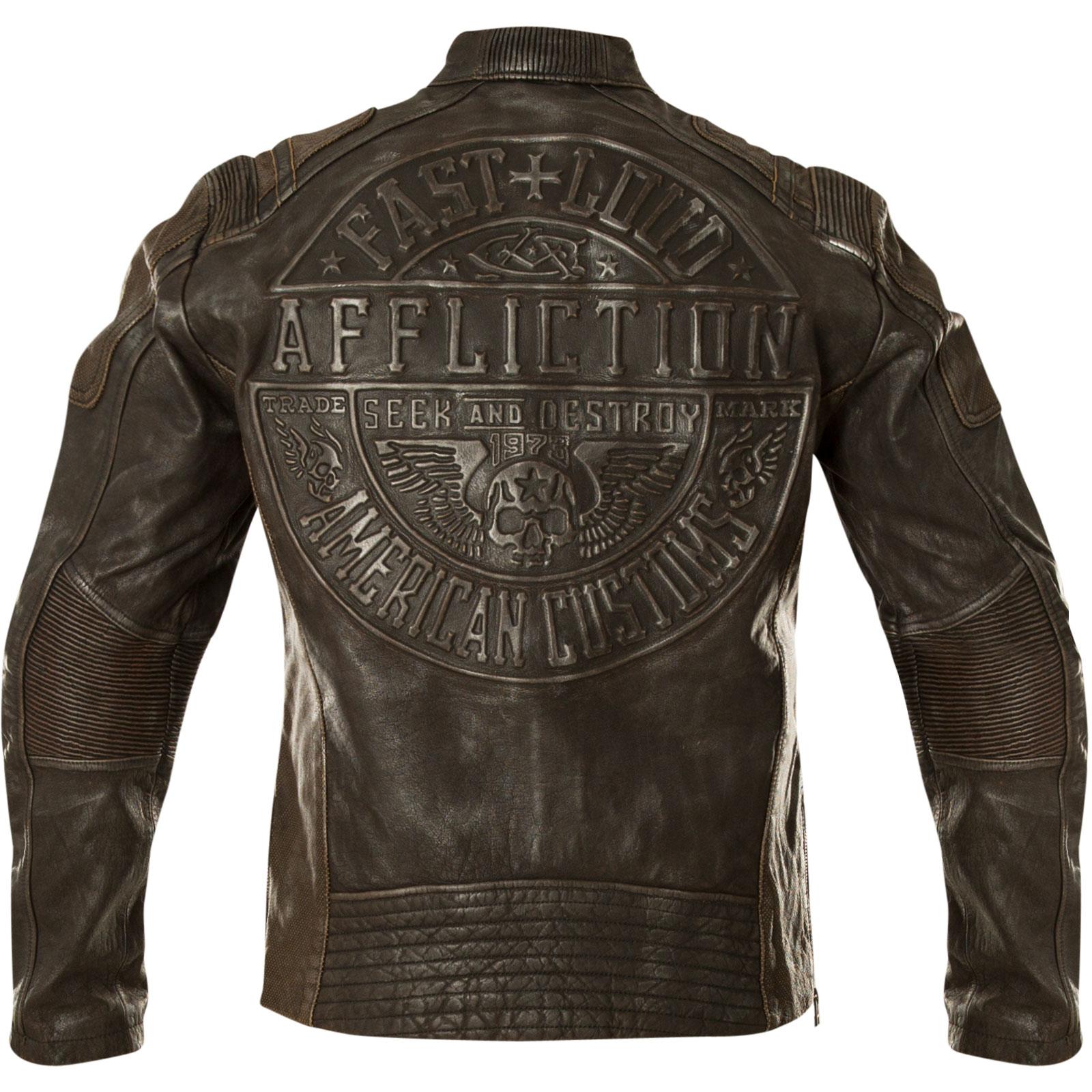 Affliction Evident Jacke im Biker Stil aus echtem Leder