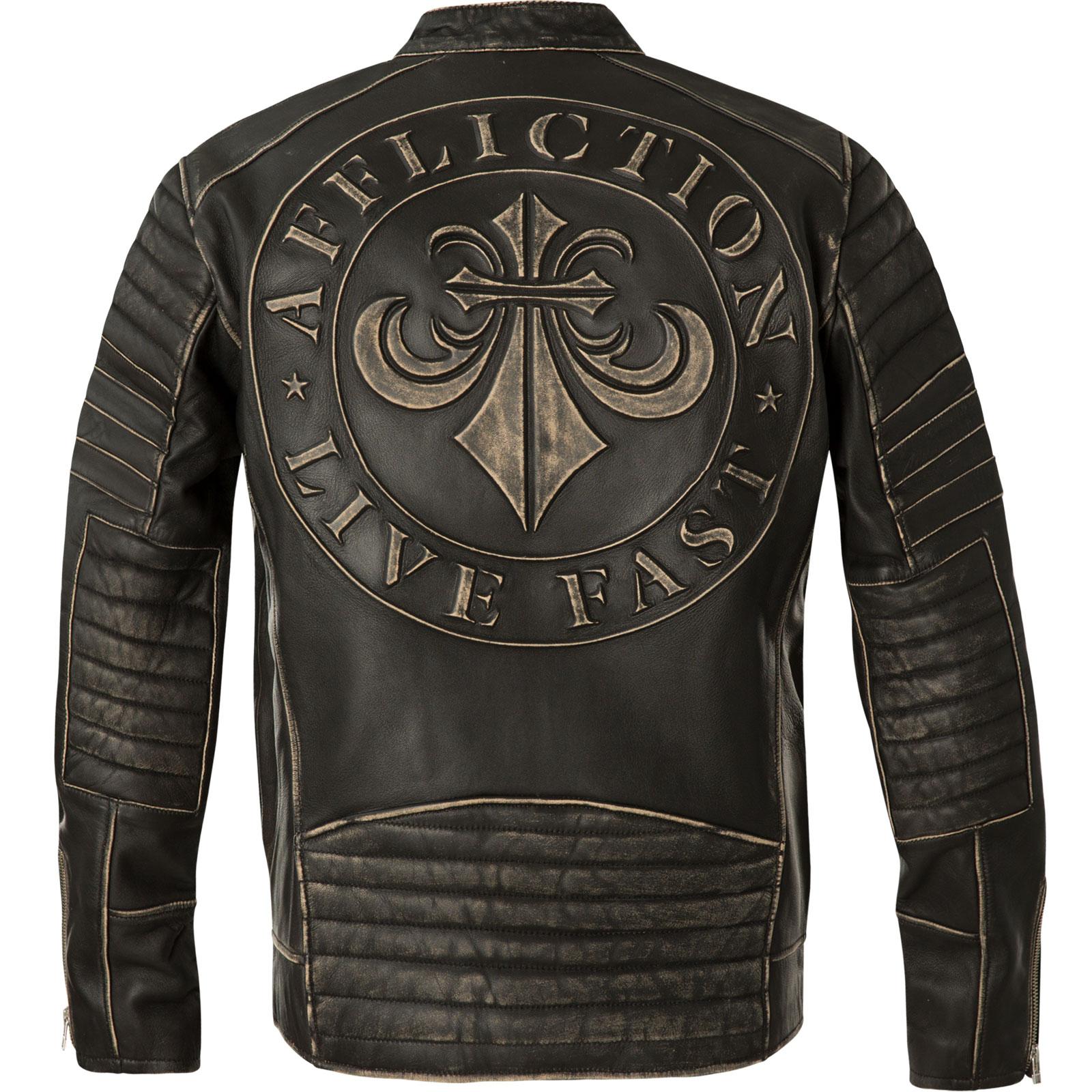Affliction Socialist Jacke im Biker Stil aus echtem Leder