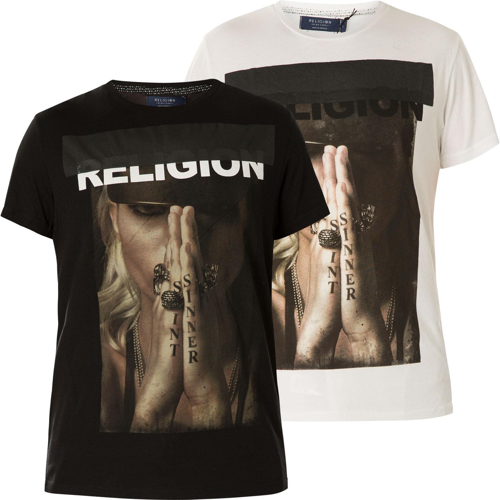 Religion T Shirt Saint Sinner 49BSAF02 Print mit einer Frau