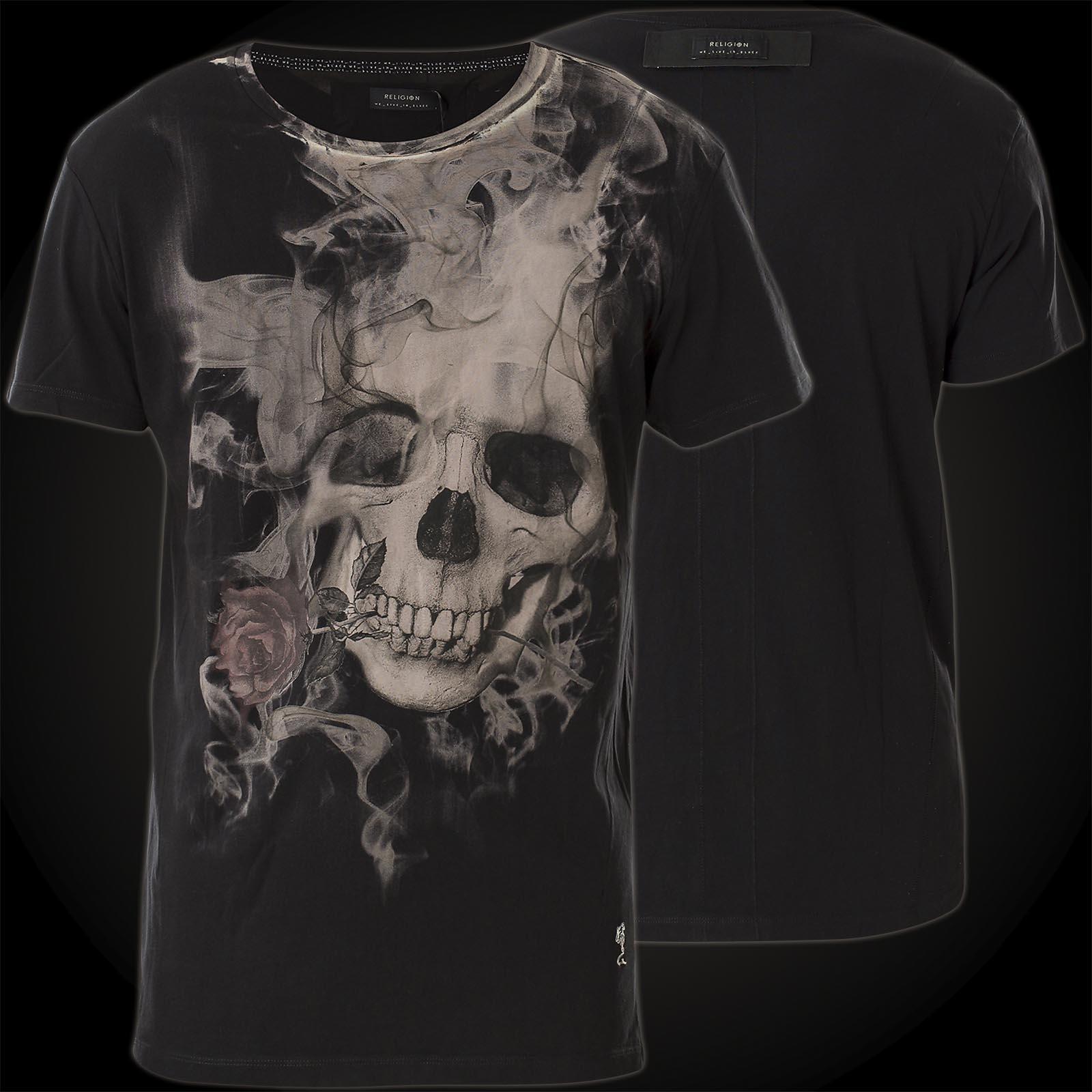 0aa33f07bd1091 Religion T-Shirt Smokey Skull 37BSSF39 rauchender Totenkopf mit Rose