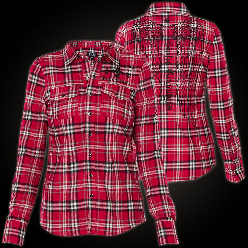 sinful hemd critical kariertes hemd mit gro er stickerei und taschen. Black Bedroom Furniture Sets. Home Design Ideas
