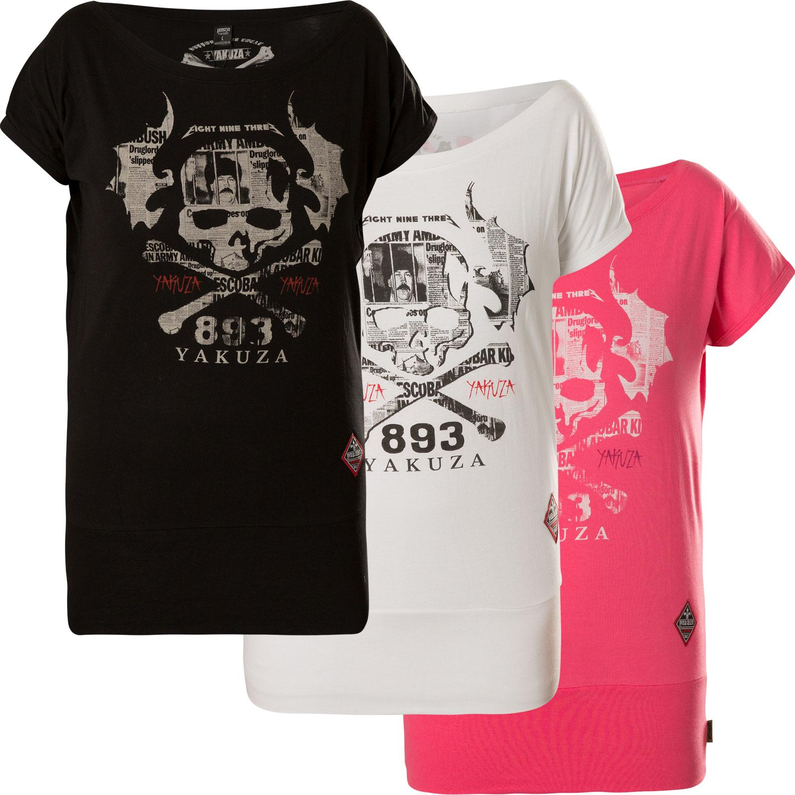 YAKUZA Damen Flying Skull Wide Crew Neck Shirt GSB-13136 Camellia Rose
