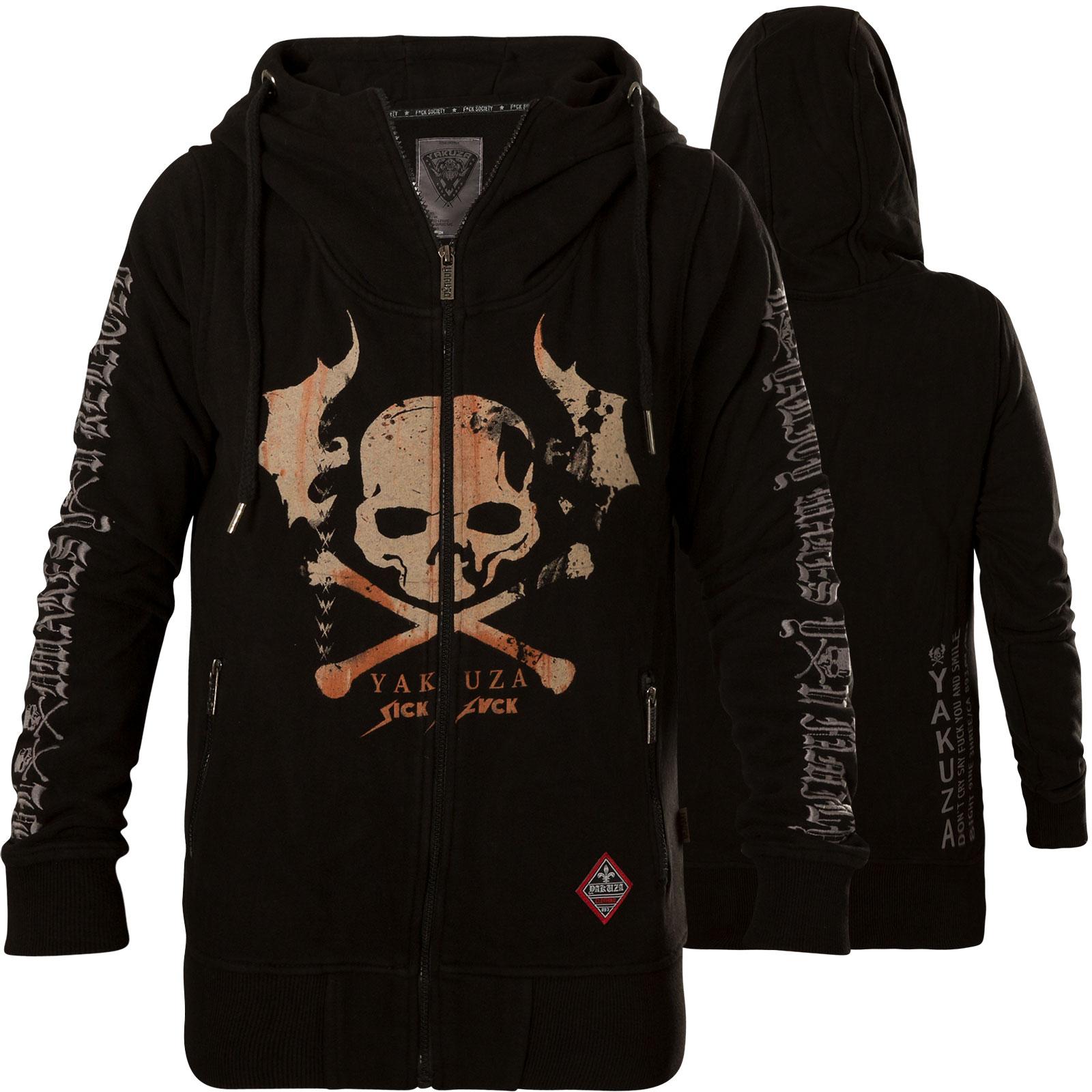 7bc073a2e45281 Yakuza Hoody Flying Skull Zip Hoodie GHZB-13112 mit großem Totenkopf