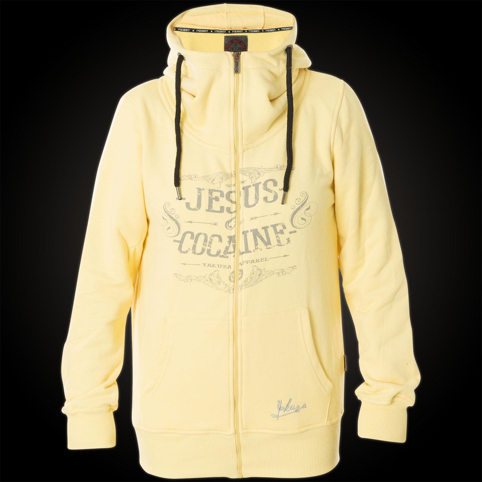 Yakuza Damen Hoody Jesus Or Cocain GHZB 9135 Pale Banana Gelb