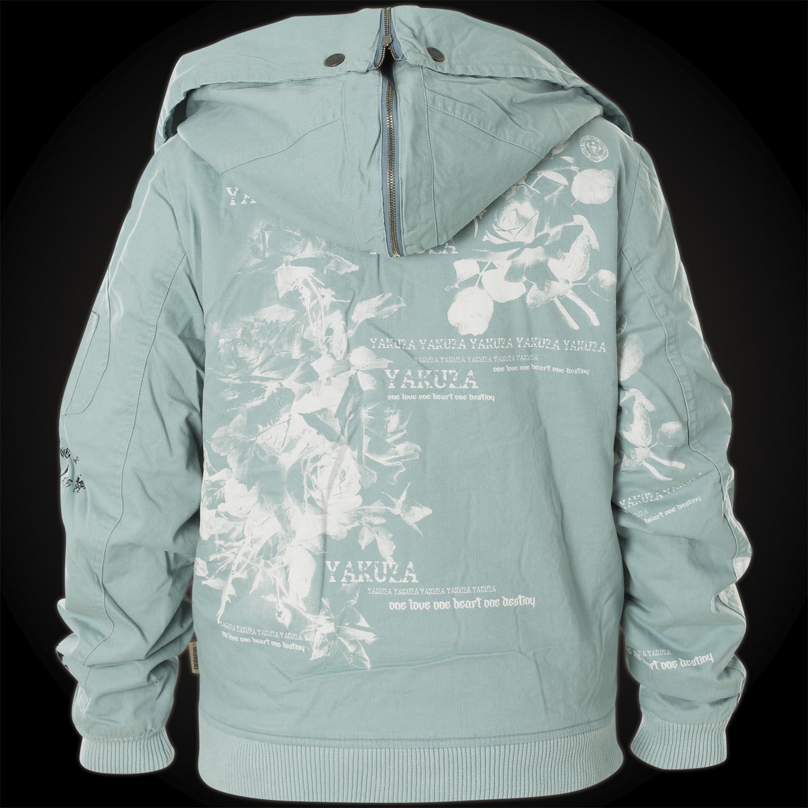 superior quality f6fc3 8c3f5 Yakuza Damen Jacke Flower Heavy Jacke Bomber GJB-10133 Smoke Blue Hellblau