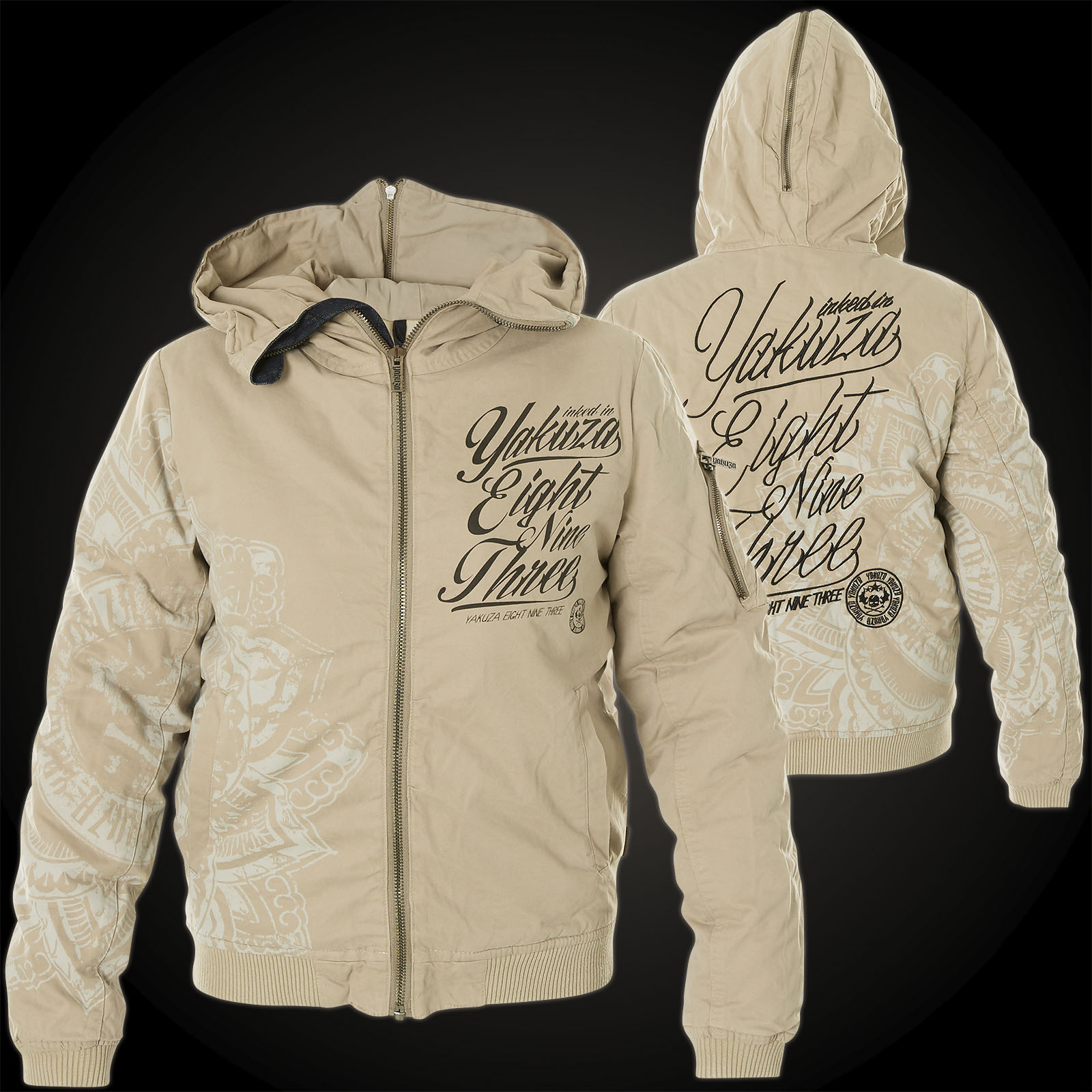 competitive price 1918c 751b0 Yakuza Damen Jacke Inked In Blood Bomber Jacke GJB-9141 Simple Taupe Grau