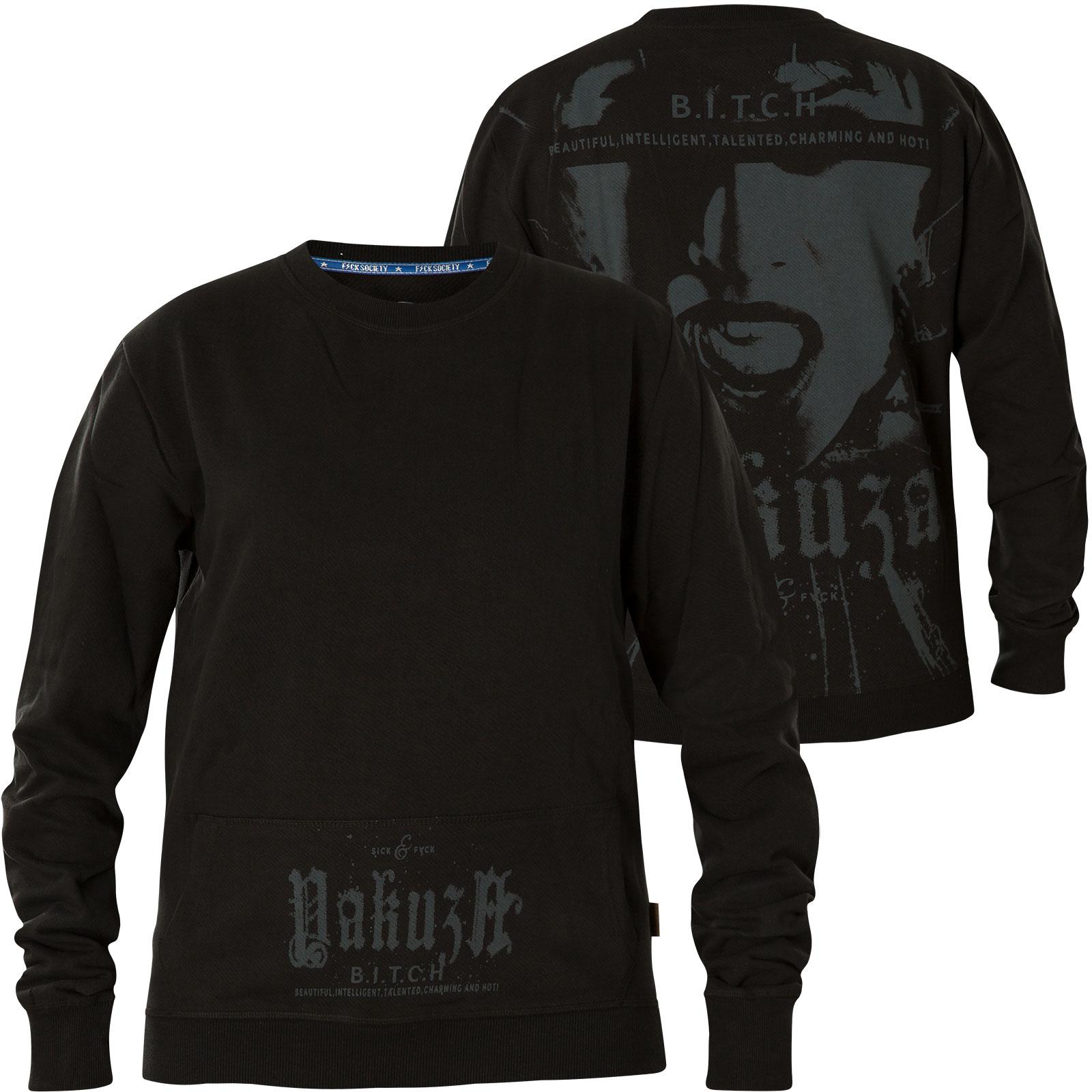 Yakuza Damen Pullover B.I.T.C.H. Pouch Sweater GPB 14117 Black Schwarz