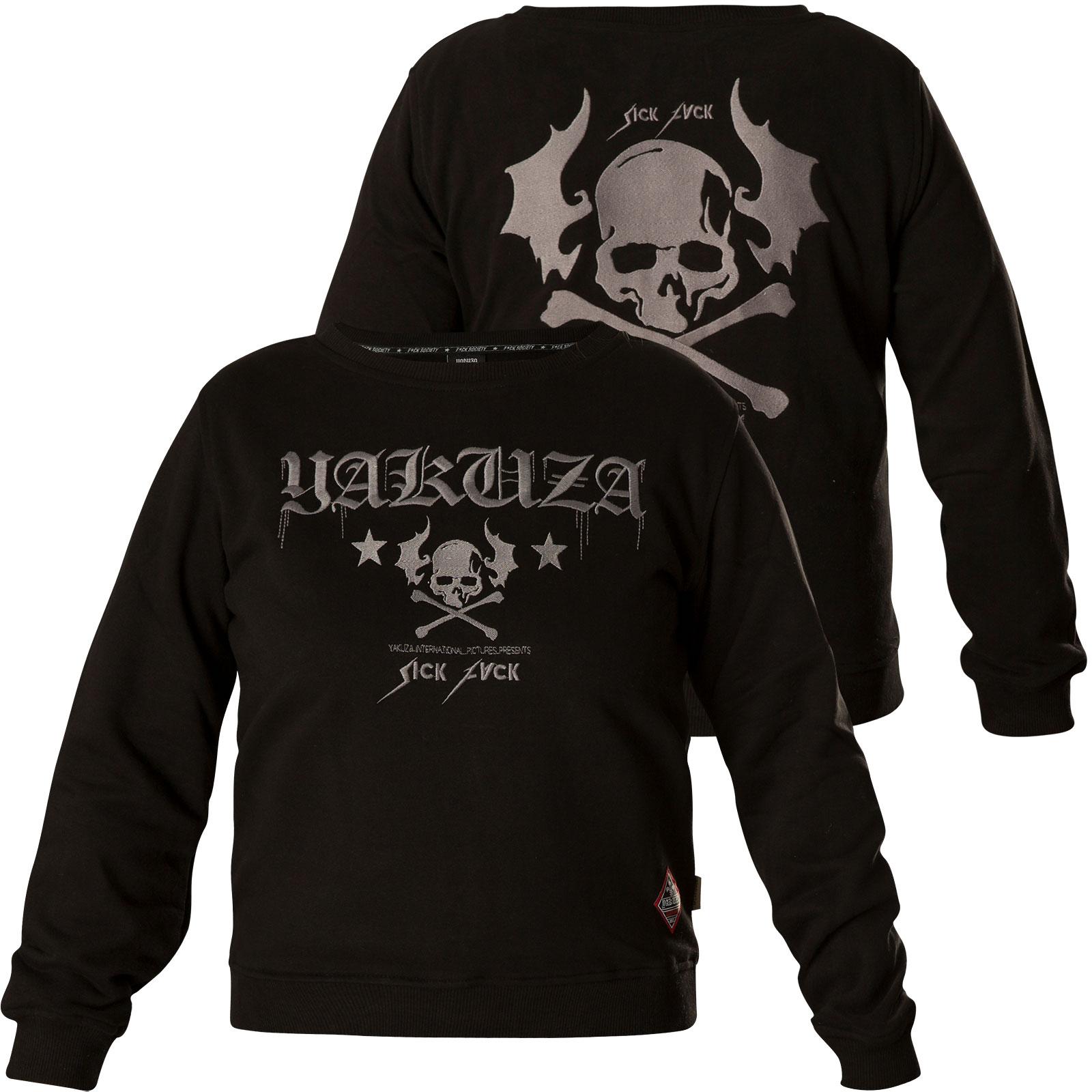 Yakuza Damen Pullover Flying Skull Cropped Sweater GPB 13109 Black Schwarz