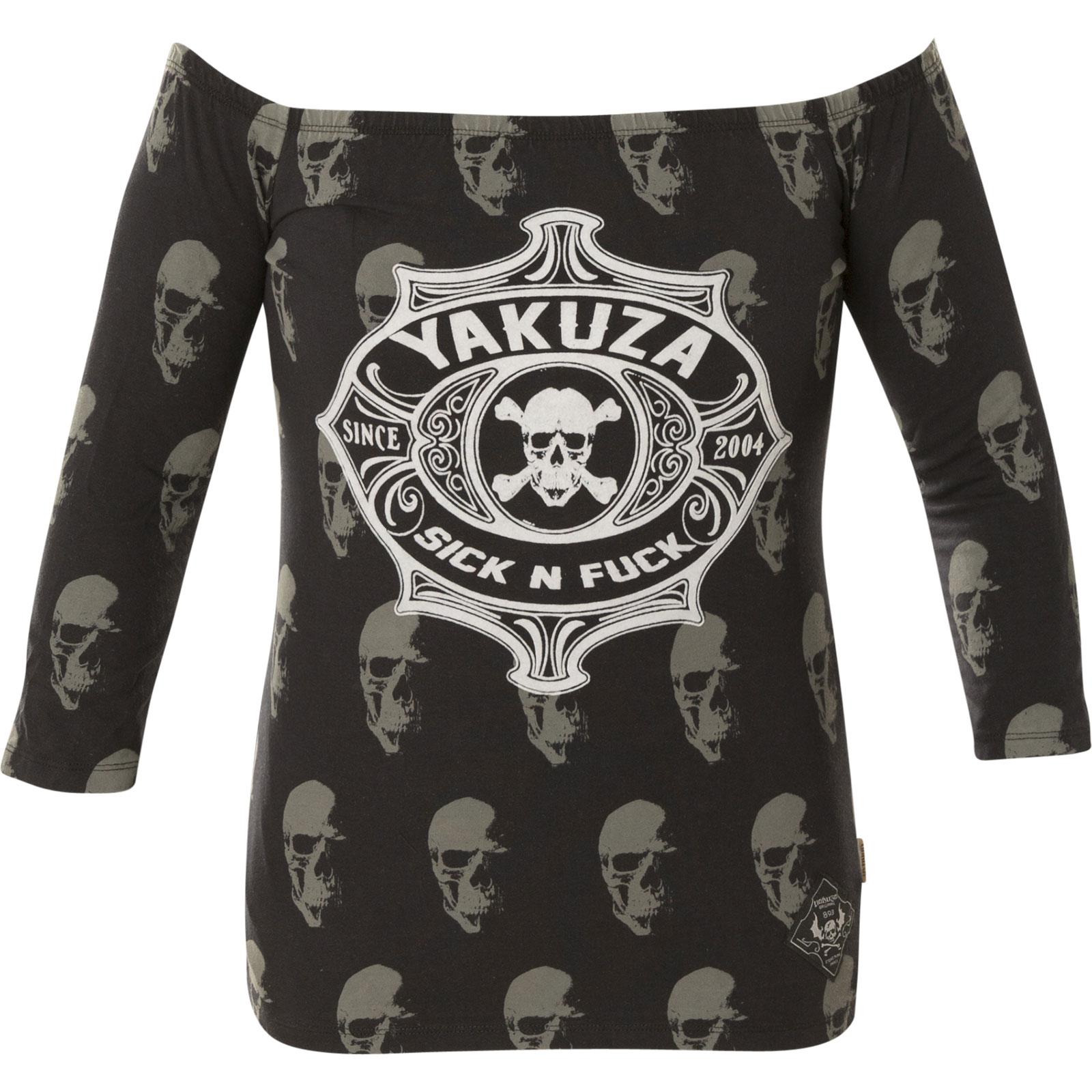 2fc427d97ffad7 ... Yakuza Damen Pullover Sick N Fuck Off Shoulder Longsleeve GLSB-11136  Black Schwarz ...