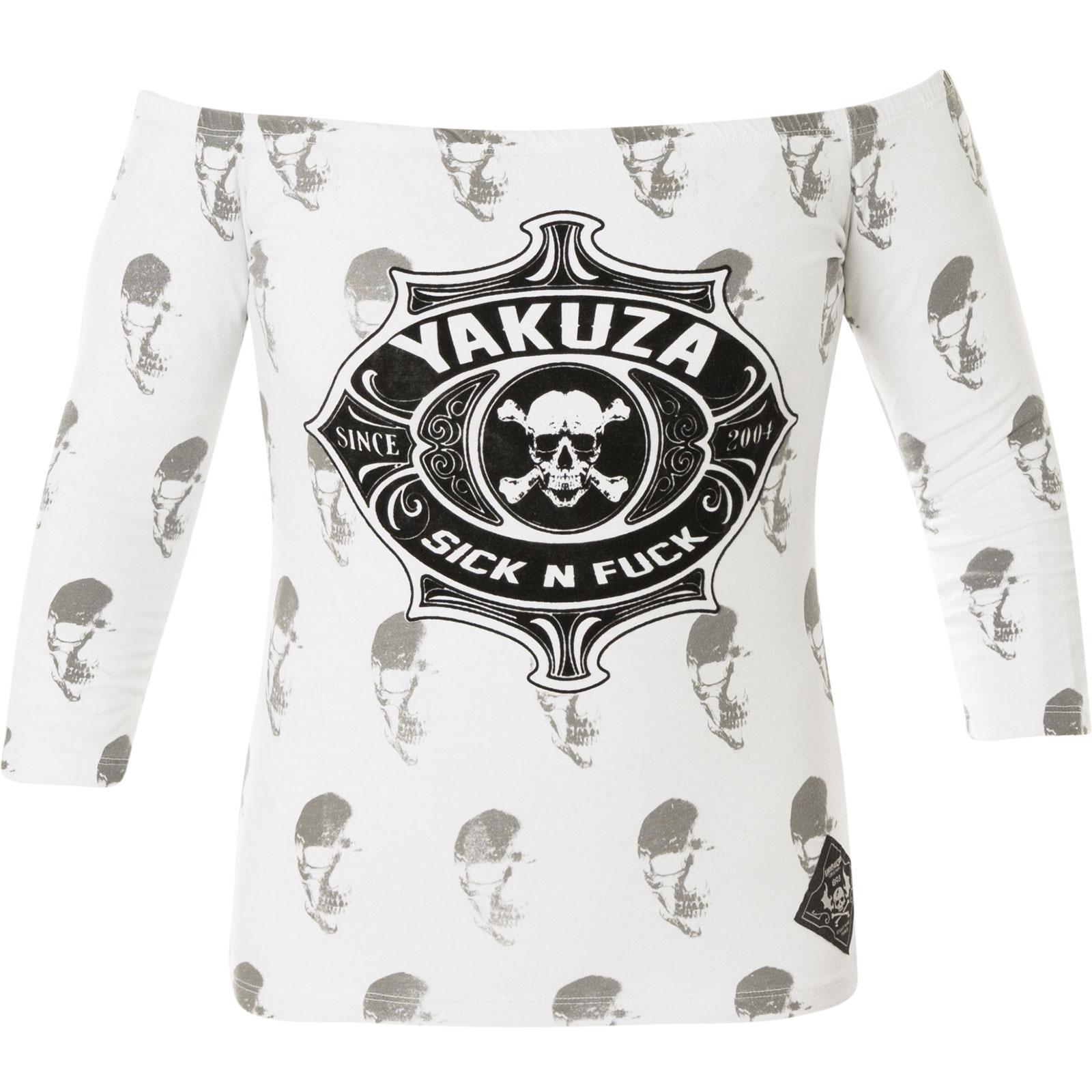 6ad7ac5779d3d7 ... Yakuza Damen Pullover Sick N Fuck Off Shoulder Longsleeve GLSB-11136  White Weiß ...