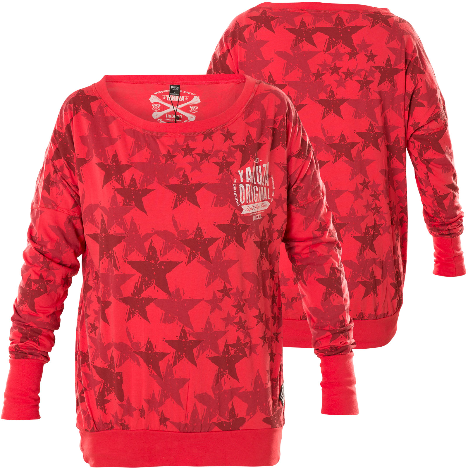 quality design 17b0c fc435 Yakuza Damen Pullover Stars Boyfriend Longsleeve GLSB-12152 Geranium Rot