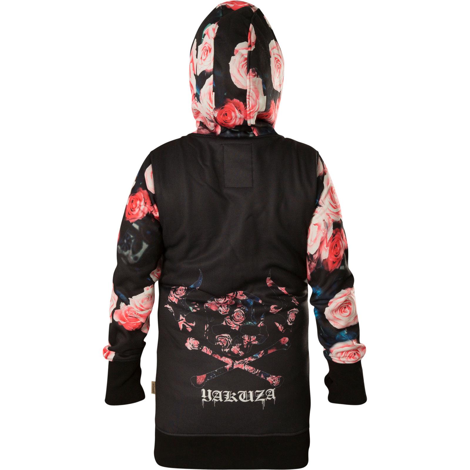 YAKUZA Damen Roses Hooded Long Jacket GLHZB-13110 Black Schwarz Jacken