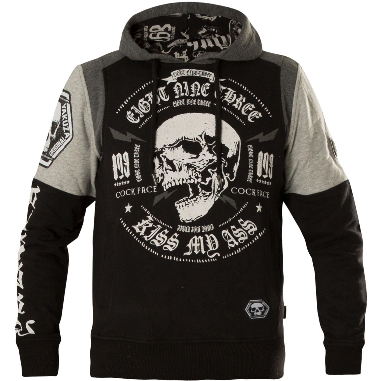 40c14b62478d81 ... Yakuza Hoody Skull Tri Face Hoodie HOB-12035 Black Schwarz Grau ...