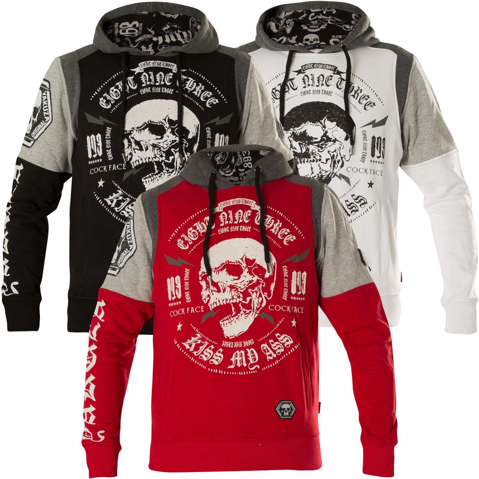c9056331783a98 ... Yakuza Hoody Skull Tri Face Hoodie HOB-12035 Black Schwarz Grau