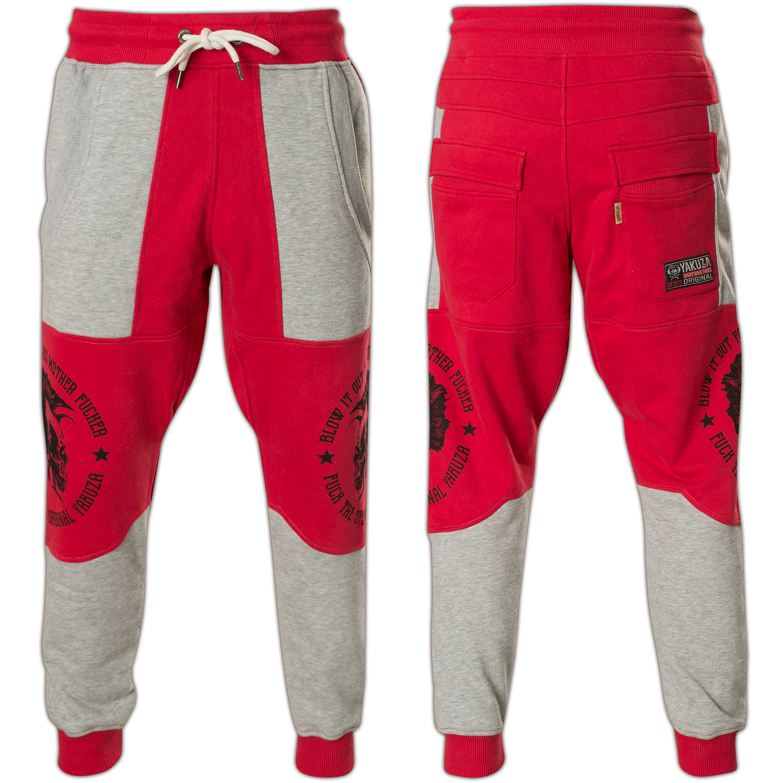 43eb70530a6f71 Yakuza Jogginghose Punx Two Face Anti Fit Jogger JOB-11030 Ribbon Red Rot  ...