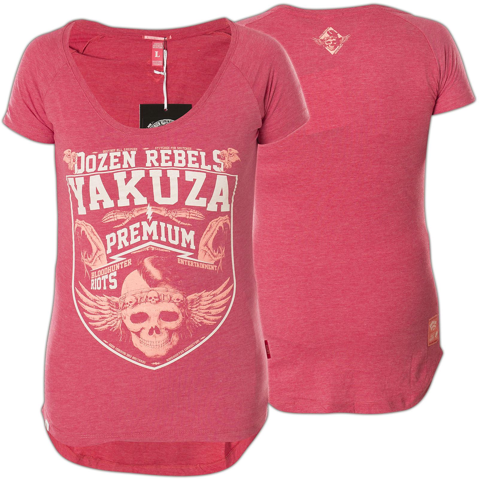 d2f32ab2feb3 Yakuza Premium T-Shirt GS-2431 mit Schlange, skelettierten Händen, Skull
