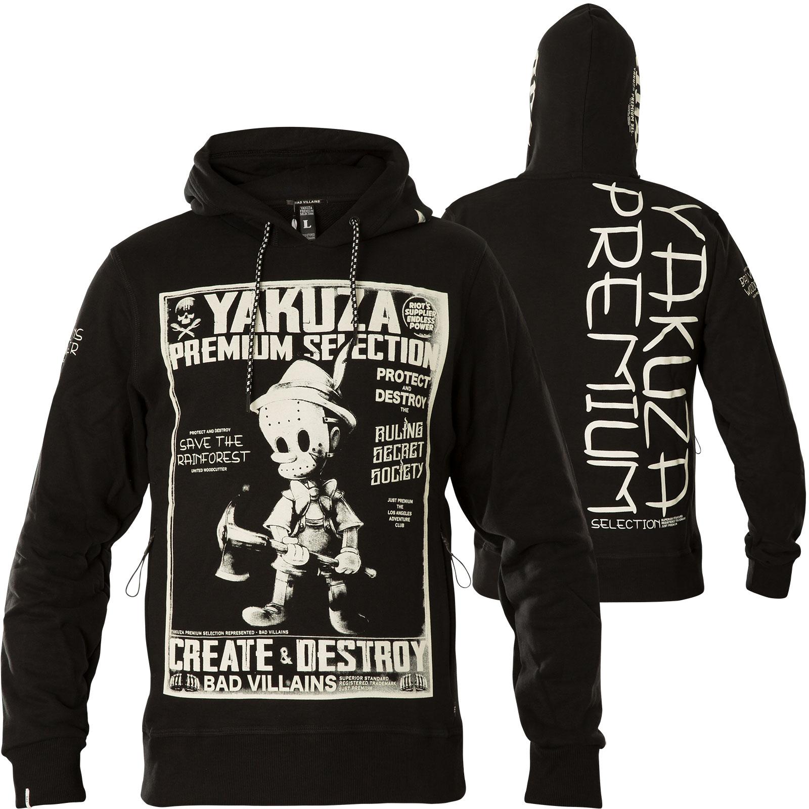 YAKUZA PREMIUM Hoody YPH-2923 Schwarz Dunkelgrau Hoodies Herren  Sweatshirts
