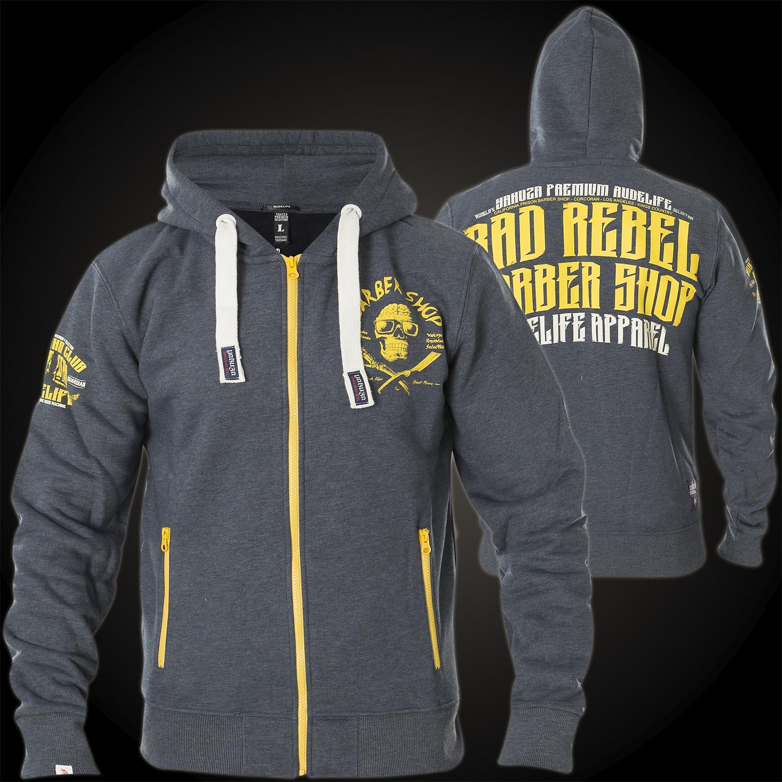 Yakuza Premium Hoodie Grau Wolf Herren Sweater