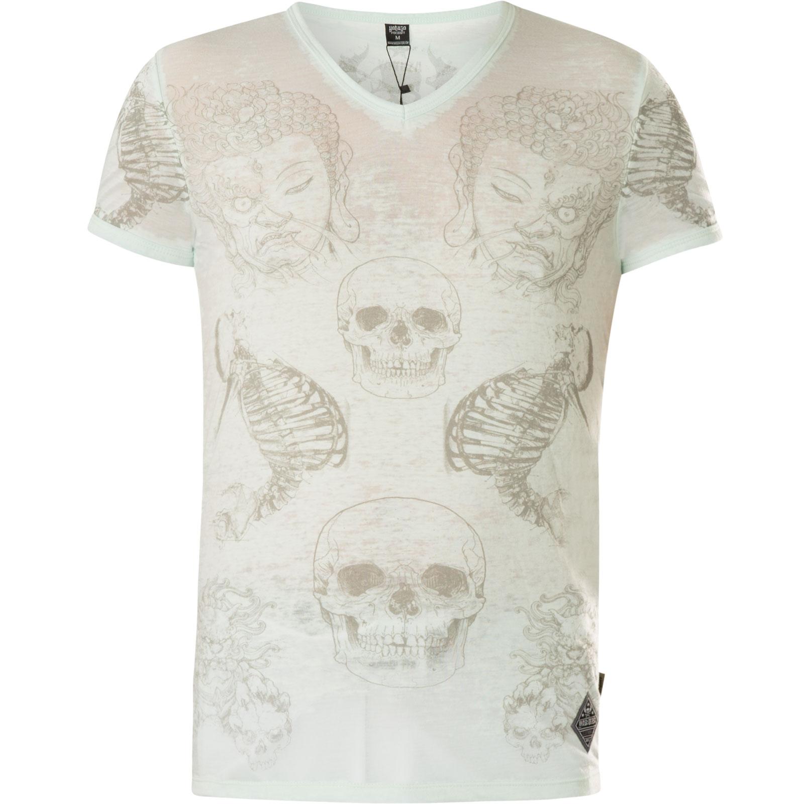 YAKUZA T-Shirt Burnout Temple TSB-13035 Pastel Blue Hellblau T-Shirts