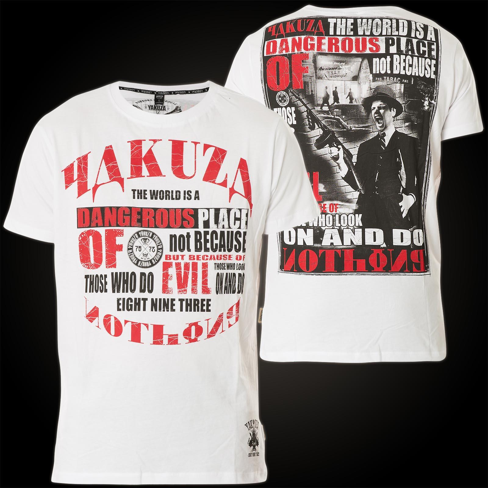 Yakuza Dangerous Place T Shirt Print Mann Mit Waffe