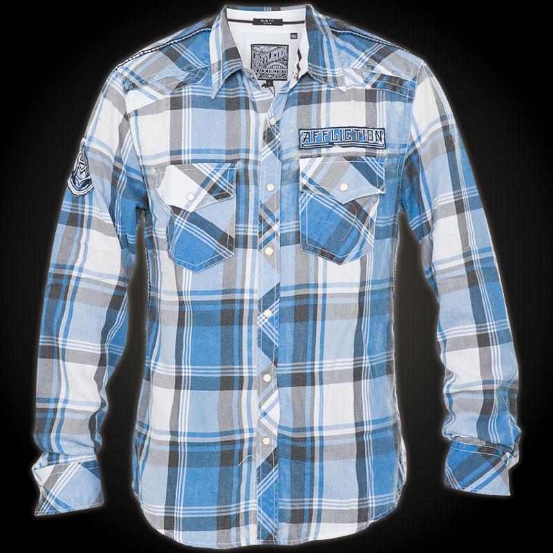 affliction hemd just right flanell karohemd mit vielen. Black Bedroom Furniture Sets. Home Design Ideas
