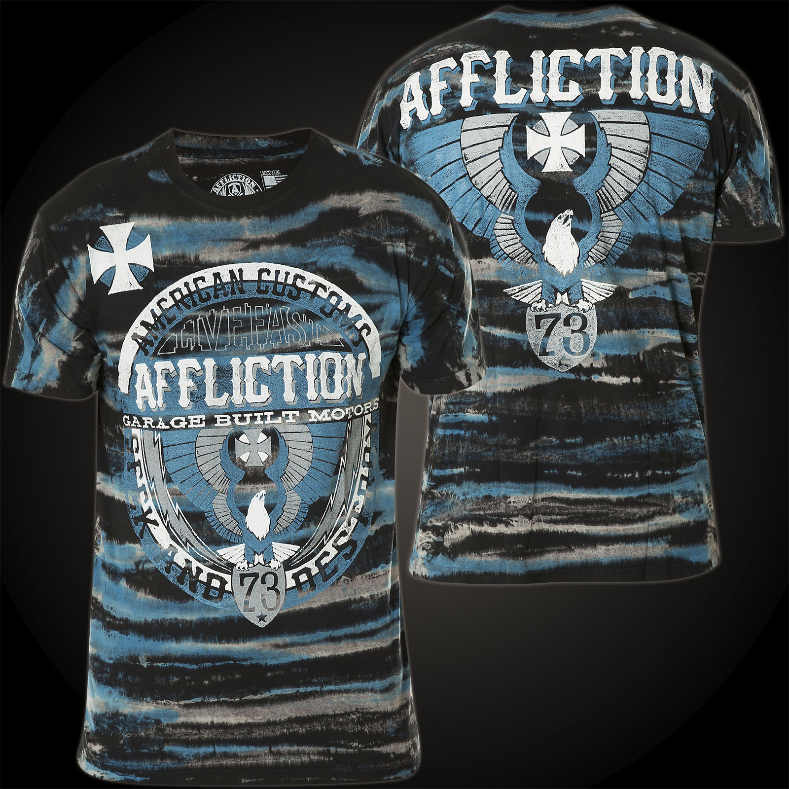 Affliction T-Shirt Builders Union Schwarz/Blau ...