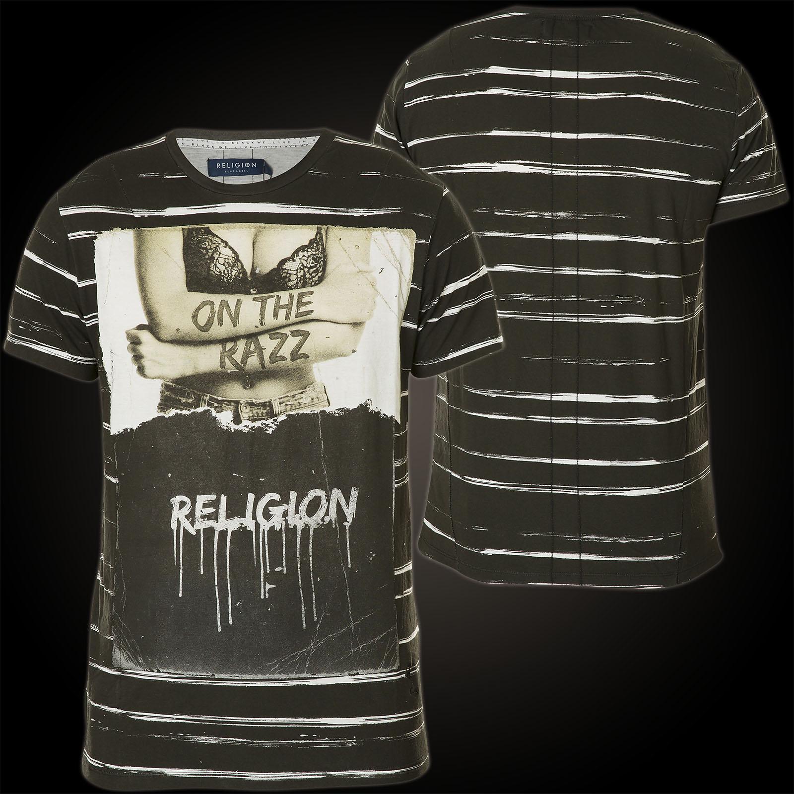 Religion T-Shirt On The Razz MBOZG05 White/Stripe Black Schwarz ...