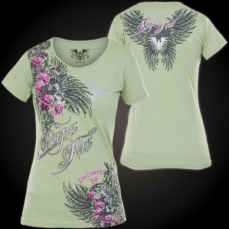 Rapa Nui Damen T-Shirt Green Roses Olive ...